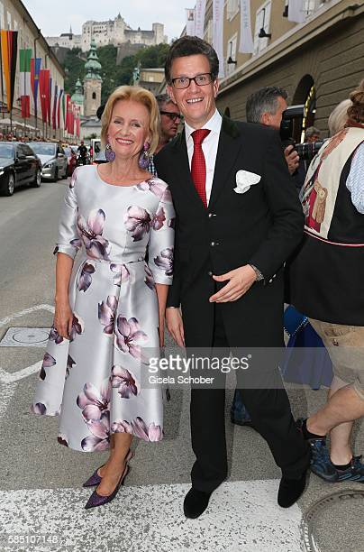 Elisabeth Guertler and her son Georg Guertler during the premiere of the opera 'Manon Lescaut' on August 1 2016 in Salzburg Austria