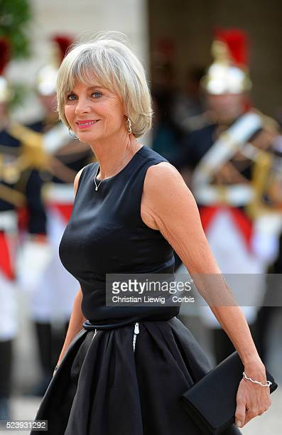 Elisabeth Guigou arrives at the Elysee Palace for a State dinner in honor of Queen Elizabeth II hosted by French President Francois Hollande as part...