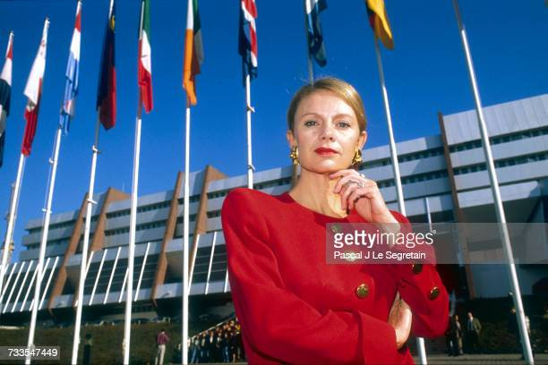 Elisabeth Guigou France's newly appointed Minister of European Affairs stands outside a government building in Paris in 1990