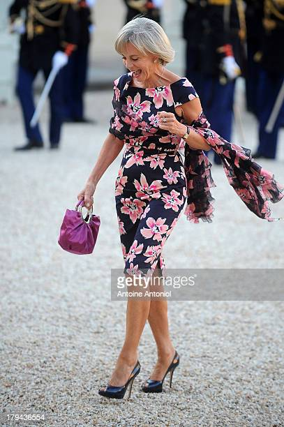 Elisabeth Guigou head of the French national assembly Foreign Affairs commitee arrives at the Elysee Palace for a state dinner on September 3 2013 in...