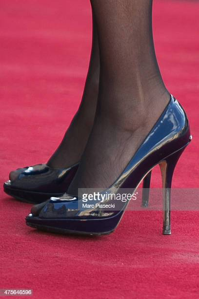 Elisabeth Guigou shoe detail arrives at the State Dinner offered by French President François Hollande at the Elysee Palace on June 2 2015 in Paris...
