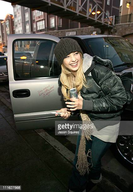 Elisabeth Harnois signs the 2005 Chevrolet Silverado pickup for General Motors The vehicle will be donated to The National Ability Centre a local...