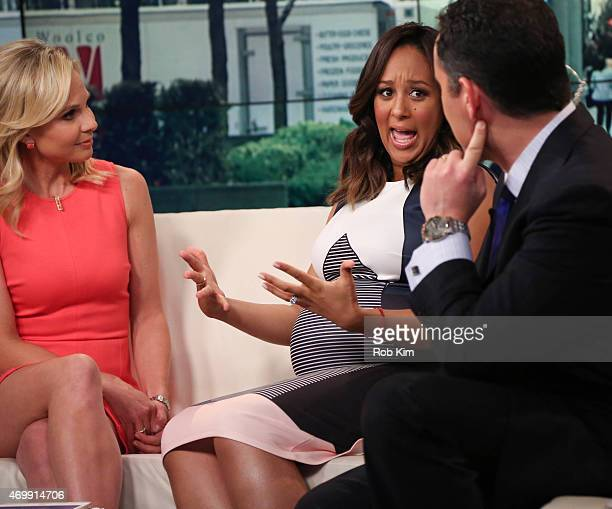Elisabeth Hasselbeck guest Tamera Mowry and Brian Kilmeade appear on 'FOX Friends' at FOX Studios on April 16 2015 in New York City