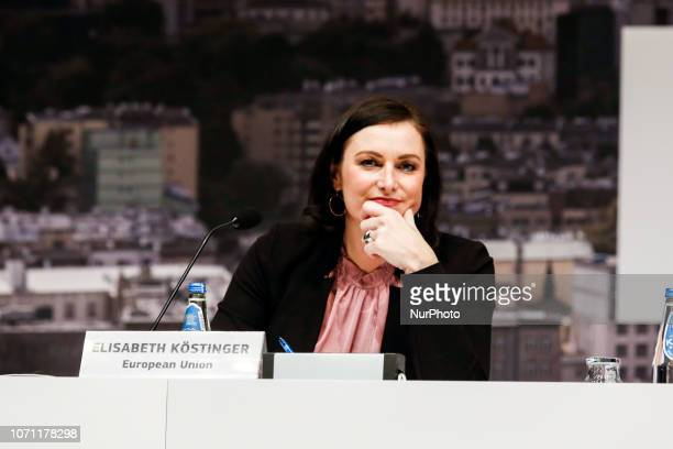 Elisabeth Köstinger Minister for Sustainability and Tourism of Austria during press conference during the UN Climate Conference COP24 in Katowice...