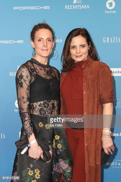 Elisabeth Lanz and her sister Barbara Lanz attend the Blue Hour Reception hosted by ARD during the 68th Berlinale International Film Festival Berlin...