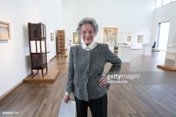 Elisabeth Leopold the widow of art collector and creator of the Leopold Museum Rudolf Leopold poses during the presentation of the exhibition titled...