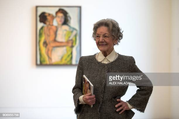 Elisabeth Leopold the widow of art collector and creator of the Leopold Museum Rudolf Leopold poses in front of a painting titled 'Lovers' by...