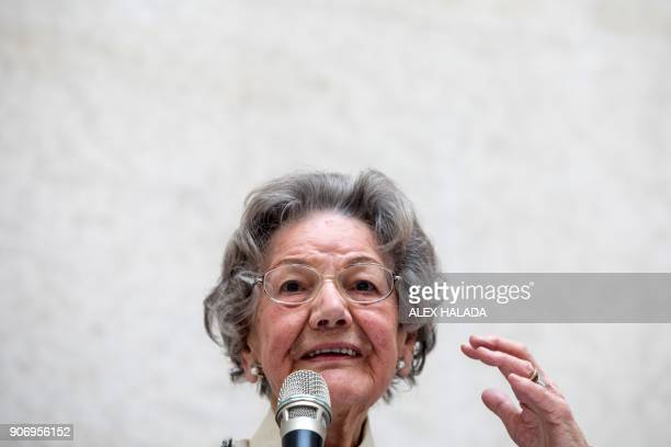 Elisabeth Leopold the widow of art collector and creator of the Leopold Museum Rudolf Leopold speaks during the presentation of the exhibition titled...