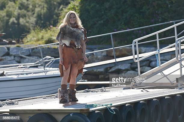 Elisabeth Lund Johnston dressed in the the Stone Age dating clothes in Saltstraumen On Thursday 11 August 2016 in Bodo Norway