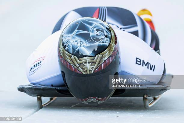 Elisabeth Maier of Canada competes during the women's Bobsleigh and Skeleton World Cup in Innsbruck, Austria on December 18, 2020. / Austria OUT