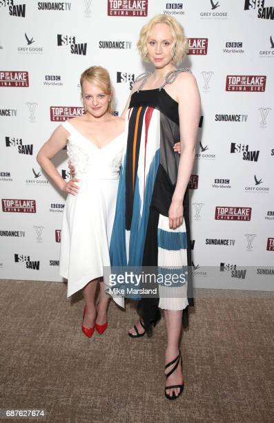 Elisabeth Moss and Gwendoline Christie attend Top Of The Lake China Girl VIP Reception during the 70th annual Cannes Film Festival at Five Seas Hotel...