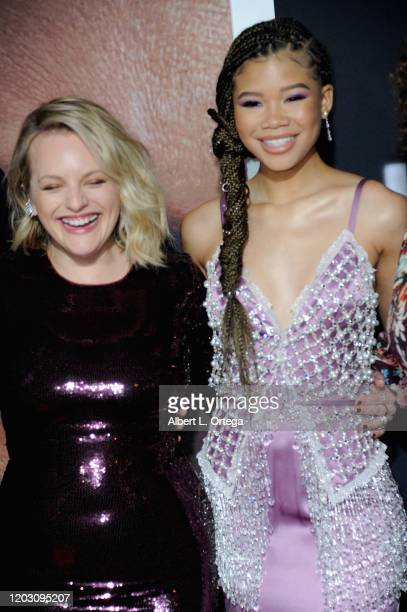 Elisabeth Moss and Storm Reid arrive for the Premiere Of Universal Pictures' The Invisible Man held at TCL Chinese Theatre on February 24 2020 in...