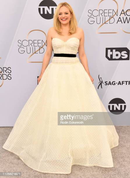 Elisabeth Moss arrives at the 25th Annual Screen Actors Guild Awards at the The Shrine Auditorium on January 27 2019 in Los Angeles California
