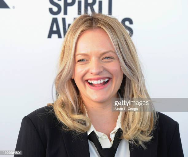Elisabeth Moss arrives for the 2020 Film Independent Spirit Awards held on February 8 2020 in Santa Monica California