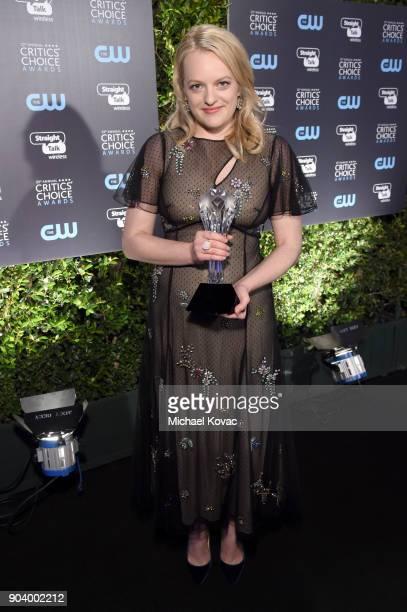 Elisabeth Moss attends Moet Chandon celebrate The 23rd Annual Critics' Choice Awards at Barker Hangar on January 11 2018 in Santa Monica California