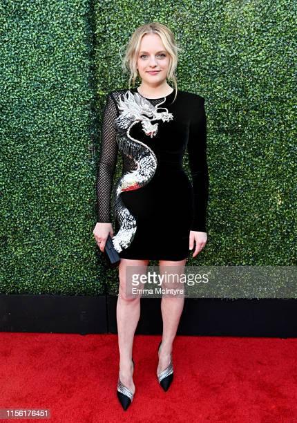 Elisabeth Moss attends the 2019 MTV Movie and TV Awards at Barker Hangar on June 15, 2019 in Santa Monica, California.