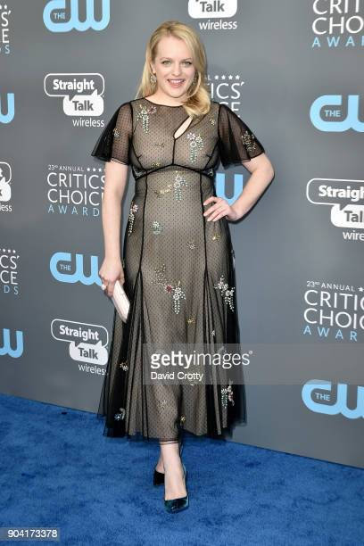 Elisabeth Moss attends The 23rd Annual Critics' Choice Awards Arrivals at The Barker Hanger on January 11 2018 in Santa Monica California