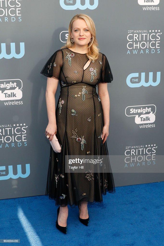 Elisabeth Moss attends the 23rd Annual Critics' Choice Awards at Barker Hangar on January 11, 2018 in Santa Monica, California.