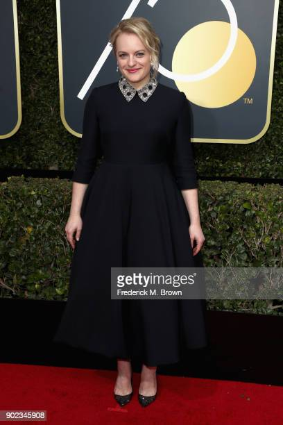 Elisabeth Moss attends The 75th Annual Golden Globe Awards at The Beverly Hilton Hotel on January 7 2018 in Beverly Hills California