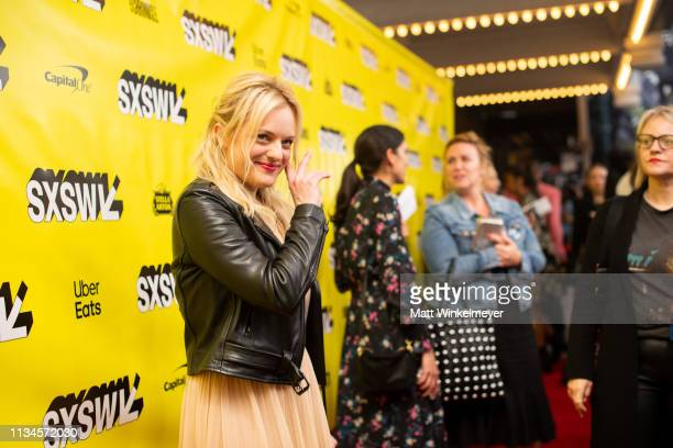 "Elisabeth Moss attends the ""Us"" Premiere 2019 SXSW Conference and Festivals at Paramount Theater at Stateside Theater on March 08, 2019 in Austin,..."