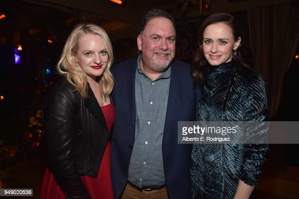 Elisabeth Moss Bruce Miller and Alexis Bledel attend the after party for the season 2 premiere of Hulu's 'The Handmaid's Tale' at TCL Chinese Theatre...