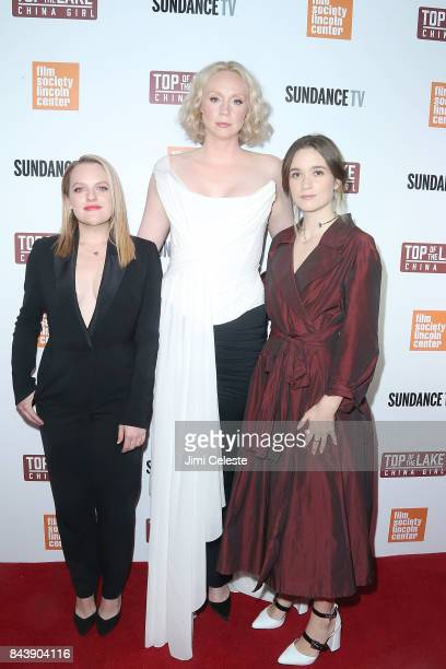 Elisabeth Moss Gwendoline Christie and Alice Englert attend the New York premiere of 'Top of the Lake China Girl' at The Film Society of Lincoln...