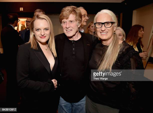 Elisabeth Moss Robert Redford and Jane Campion attend Top Of The Lake China Girl Premiere at Walter Reade Theater on September 7 2017 in New York City