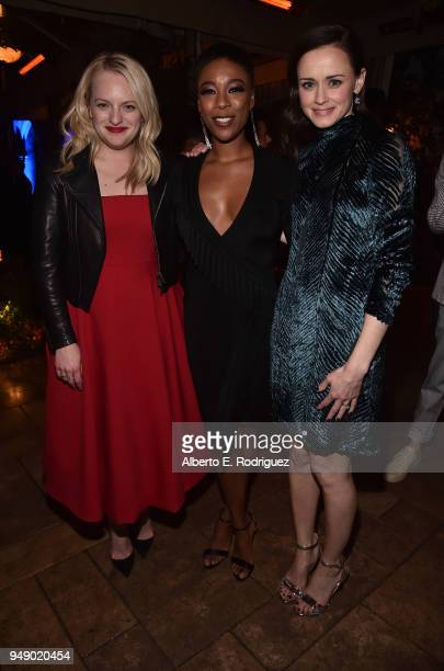 Elisabeth Moss Samira Wiley and Alexis Bledel attend the after party for the season 2 premiere of Hulu's 'The Handmaid's Tale' at TCL Chinese Theatre...
