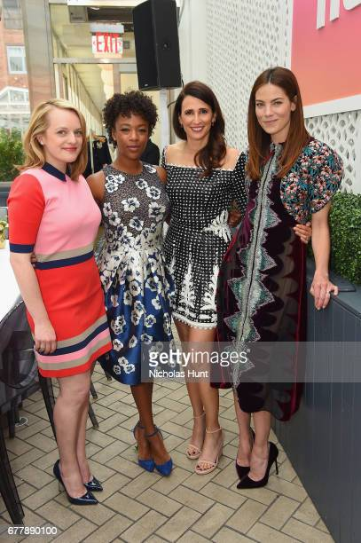 Elisabeth Moss Samira Wiley Michaela Watkins and Michelle Monaghan attend the Hulu Upfront Brunch at La Sirena Ristorante on May 3 2017 in New York...
