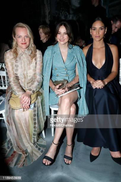 Elisabeth Moss Shailene Woodley and Adria Arjona attend the Christian Dior Haute Couture Fall/Winter 2019 2020 show as part of Paris Fashion Week on...