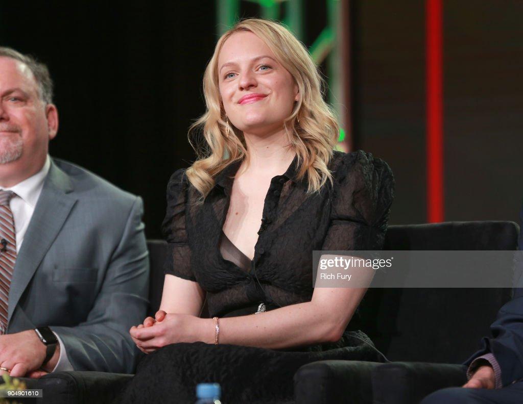 Elisabeth Moss speaks onstage during Hulu TCA at Langham Hotel on January 14, 2018 in Pasadena, California.