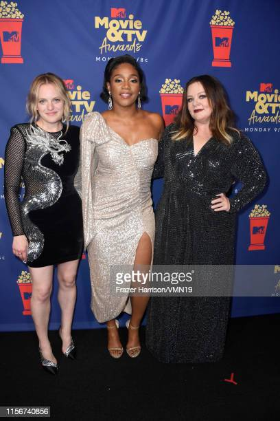 Elisabeth Moss Tiffany Haddish and Melissa McCarthy attend the 2019 MTV Movie and TV Awards at Barker Hangar on June 15 2019 in Santa Monica...