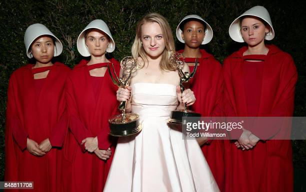 Elisabeth Moss winner of the awards for Outstanding Drama Series and Outstanding Lead Actress in a Drama Series for 'The Handmaid's Tale' attends...