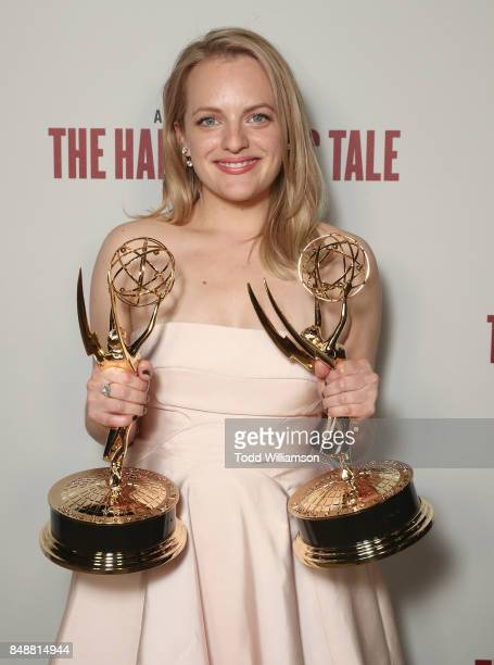 """Elisabeth Moss, winner of the awards for Outstanding Drama Series and Outstanding Lead Actress in a Drama Series for 'The Handmaid's Tale"""" attends..."""