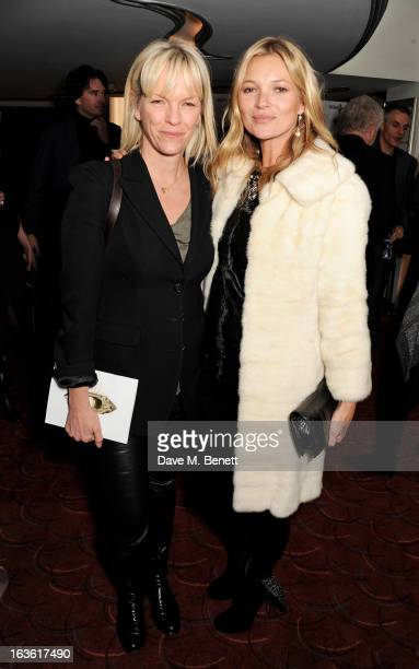 Elisabeth Murdoch and Kate Moss attend a gala performance of 'The Book Of Mormon' in aid of Red Nose Day at the Prince Of Wales Theatre on March 13...