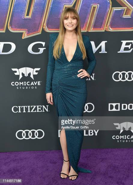 Elisabeth Olsen attends the World Premiere of Walt Disney Studios Motion Pictures 'Avengers Endgame' at Los Angeles Convention Center on April 22...