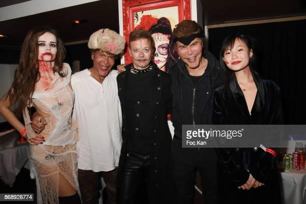 Elisabeth Oros Igor Bogdanov Louis de Causans Grichka Bogdanov and Ludan Zhang attend the Bal des Vampires 2017 at Pavillon Champs Elysees on October...
