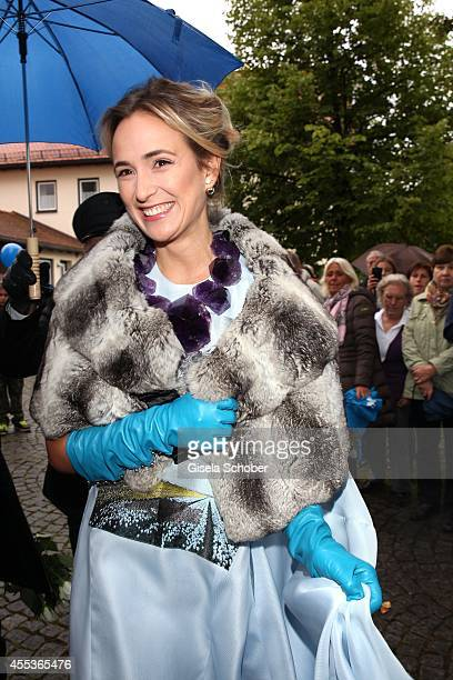 Elisabeth princess von Thurn und Taxis sister of Maria attends the wedding of Maria Theresia Princess von Thurn und Taxis and Hugo Wilson at St...