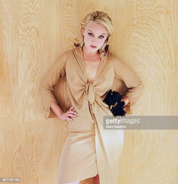 Elisabeth Rohm in Light brown Dress