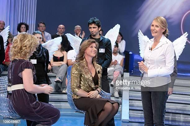 Elisabeth Samnoy Princess Martha Louise Of Norway and TV presenter Licia Colo attend Alle Falde Del Kilimangiaro Italian TV Show at the RAI Studios...