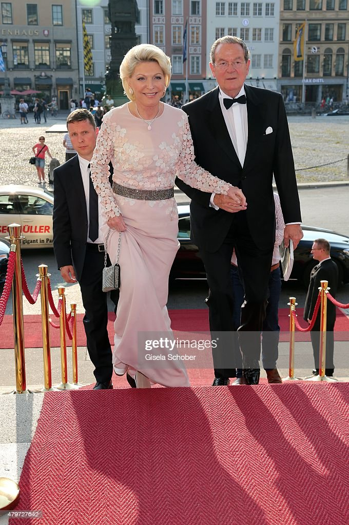 Elisabeth Schaeffler and her husband Juergen Thurmann during the premiere of the opera 'Arabella' on July 6, 2015 in Munich, Germany.