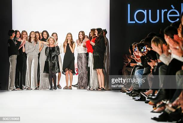 Elisabeth Schwaiger with the models at the Laurel Show MercedesBenz Fashion Week Berlin Autumn/Winter 2016 on January 20 2016 in Berlin Germany