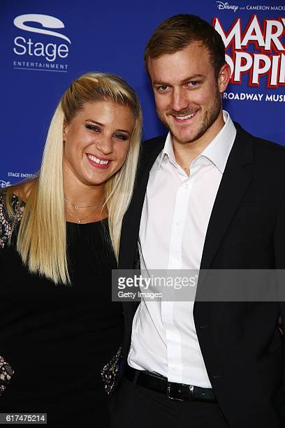 Elisabeth Seitz and Matthias Zuba attend the red carpet at the premiere of the Mary Poppins musical at Stage Apollo Theater on October 23 2016 in...