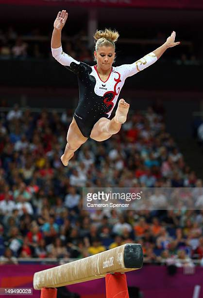 Elisabeth Seitz of Germany competes on the beam in the Artistic Gymnastics Women's Team qualification on Day 2 of the London 2012 Olympic Games at...