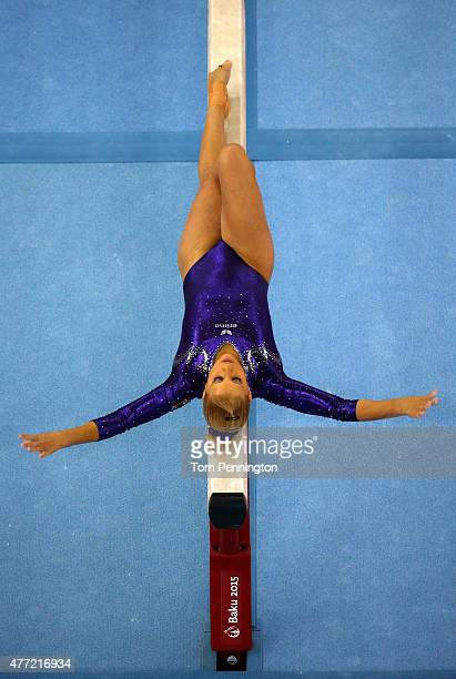 Elisabeth Seitz of Germany competes on the beam in the Women's Team Final and Individual Qualification during day three of the Baku 2015 European...