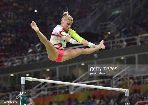 Elisabeth Seitz of Germany in action during the of the Women's Uneven Bars Final at the Artistic Gymnastics events of the Rio 2016 Olympic Games at...