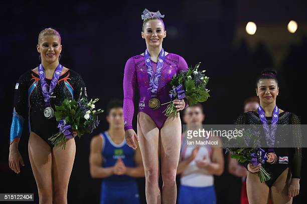Elisabeth Seitz of Germany Mykayla Skinner of United States and Claudia Fragapane pose with their medals during the 2016 FIG Artistic World Cup at...