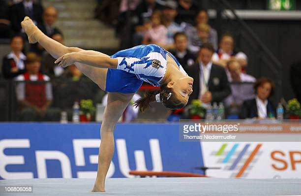 Elisabeth Seitz of Germany performs at the floor during the EnBW Gymnastics Worldcup 2010 at the Porsche Arena on November 13 2010 in Stuttgart...