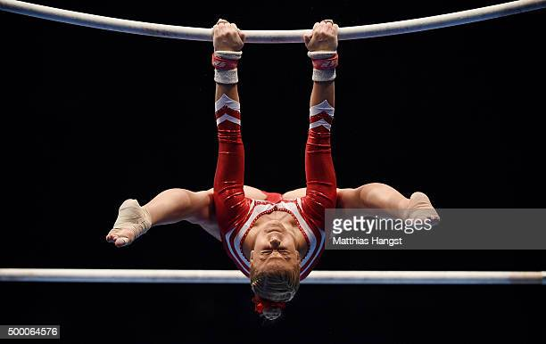Elisabeth Seitz of MTV Stuttgart competes in the Uneven Bar during the Women's DTL Finals 2015 at Messehalle 2 on December 5 2015 in Karlsruhe Germany
