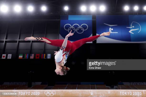 Elisabeth Seitz of Team Germany competes on balance beam during Women's Qualification on day two of the Tokyo 2020 Olympic Games at Ariake Gymnastics...
